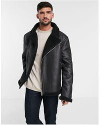 ASOS Faux Shearling Biker Jacket With Teddy Lining - Black