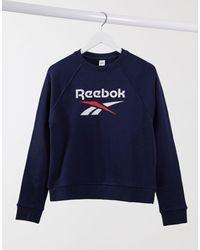 Reebok Темно-синий Кроп-топ С Логотипом