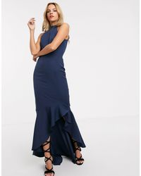 Chi Chi London Fitted Midi Dress With High Low Hem And Bow Back - Blue