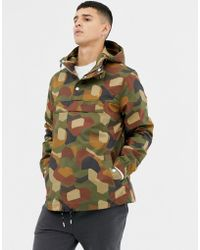 74457a893 Zach Geo Printed Overhead Jacket In Camo - Green