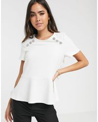 River Island Peplum Top With Button Shoulder Detail - White