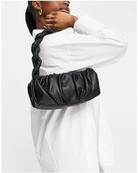Mango Plaited Handle Shoulder Bag - Black