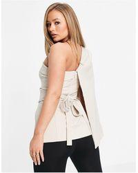 Lavish Alice Bardot Cape Sleeveless Blazer With Belt Detail - Metallic
