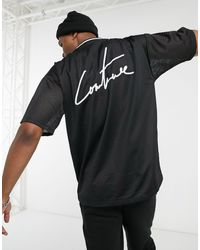 The Couture Club Oversized Mesh T-shirt With Back Logo - Black