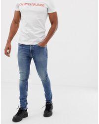 Calvin Klein Skinny Jeans Met Mid Wash - Blauw