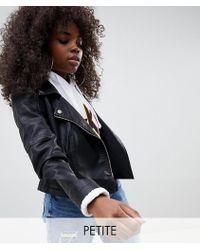 Noisy May Petite - Faux Leather Biker Jacket - Lyst