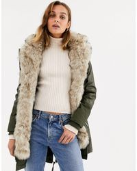 River Island Parka Coat With Faux Fur Inner - Natural