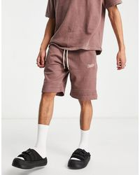 Pull&Bear Matching Washed Jersey Shorts - Brown