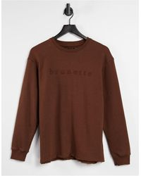 Threadbare Lola Embroidered Slogan Sweatshirt - Brown
