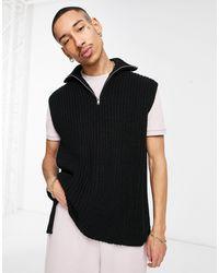 ASOS Oversized Knitted Half Zip Sweater Vest - Black