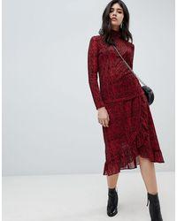 Soaked In Luxury Falda cruzada con diseño a rayas - Rojo