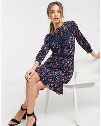 Oasis Floral Print Skater Dress With Lace Trim - Blue