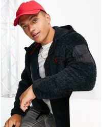 Polo Ralph Lauren - Sudadera negra con capucha, cremallera y logo - Lyst