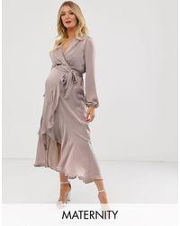 Flounce London Satin Wrap Front Midi Dress - Natural