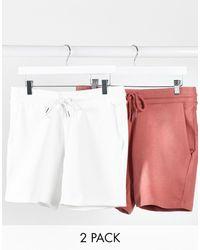 ASOS 2 Коротких Шортов Скинни (белые/розовые) - Розовый