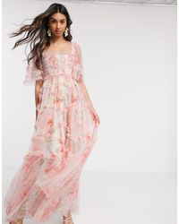 Needle & Thread Robe longue babydoll à imprimé rose printanier