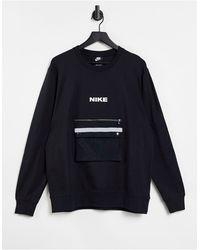 Nike – City Made Pack – Sweatshirt mit Rundhalsausschnitt - Schwarz