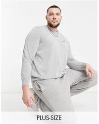 Lacoste Серый Вязаный Джемпер С Круглым Вырезом И Логотипом