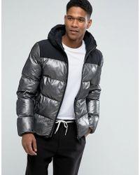 Hilfiger Denim Tommy Bonded Puffer Jacket Hooded Metalic Spots In Black