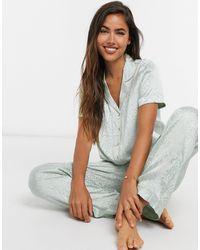 Vero Moda Short Sleeve Shirt Pjyama Set - Green