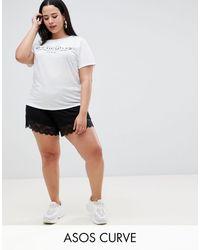 ASOS Pantalones cortos estilo culotte con bajos - Negro