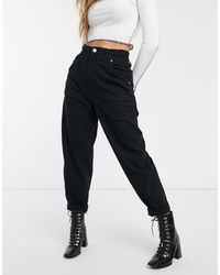 Bershka Elasticated Waist Slouchy Pant - Black