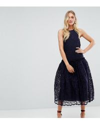 ASOS - Lace Smock Drop Waist Midi Dress - Lyst