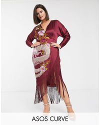 ASOS Midi Dress With Dragon Embroidery And Fringe Hem - Red