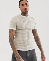 37ab8ae4 Lyst - ASOS Knitted Muscle Fit Polo In Oatmeal in Natural for Men