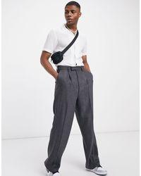ASOS High Waist Wool Mix Smart Pants With Wide Leg - Gray