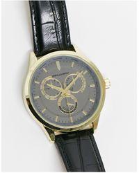 ASOS Montre classique avec cadran gris acier et bracelet noir effet croco