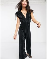 Bershka Plisse Jumpsuit With Tie Sleeves - Black