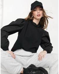 Vila High Neck Sweatshirt With Balloon Sleeve - Black