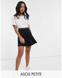 ASOS Asos Design Petite Elasticated Waist Flippy Mini Skirt - Black