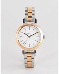 DKNY - Ny2585 Ladies Two Tone Watch With White Dial - Lyst