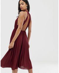 ASOS Плиссированное Приталенное Платье Миди С Американской Проймой - Красный
