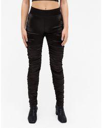 Monki Crystal - legging ultra brillant froncé - Noir