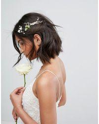 LoveRocks London | Pearl & Leaf Wire Hair Comb | Lyst