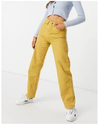 WÅVEN Regular 90s Fit Wide Leg Pleat Detail Jeans Co-ord - Yellow