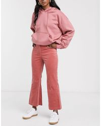 Monki Flared Cropped Pants - Pink