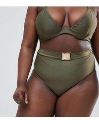 Wolf & Whistle - Curve High Waist Bikini Bottom With Belt In Khaki - Lyst