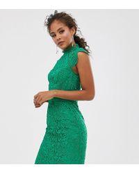 Chi Chi London Scallop Lace Pencil Dress In Green