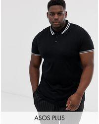 ASOS Plus Tipped Pique Polo Shirt - Black