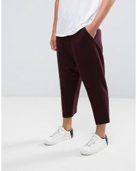 ASOS - Drop Crotch Tapered Smart Trousers In Burgundy Twill - Lyst