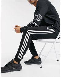 adidas Originals - Черные Зауженные Джоггеры С Тремя Полосками Superstar-черный Цвет - Lyst