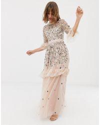 Needle & Thread - Robe longue brodée en tulle - Rose - Lyst