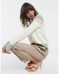 Fashion Union Pull décontracté avec motif jacquard placé - Gris