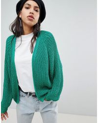 River Island - Chunky Cable Knit Cardigan - Lyst