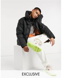 Collusion Puffer Jacket With Double Layer - Black