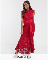 Chi Chi London Robe mi-longue en dentelle au crochet - Rouge